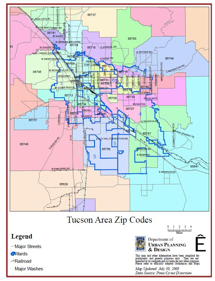 Tucson Zip Codes Map